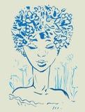 Muchacha hermosa con las flores libre illustration