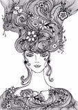Muchacha hermosa con las flores en gráfico auténtico del pelo stock de ilustración