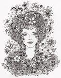Muchacha hermosa con las flores en gráfico auténtico del pelo ilustración del vector