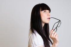 Muchacha hermosa con las gafas Foto de archivo libre de regalías