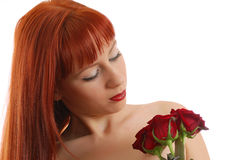 Muchacha hermosa con las rosas Fotos de archivo