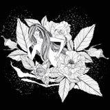 Muchacha hermosa con las rosas blancas Fotos de archivo