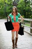 Muchacha hermosa con los bolsos de compras del paño que camina en el puente de madera fotografía de archivo