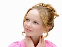 Muchacha hermosa, con los ojos azules y el pelo rubio Osmetics y maquillaje del ¡de Ð Imagen de archivo