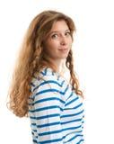 Muchacha hermosa con los pelos rizados largos Fotos de archivo