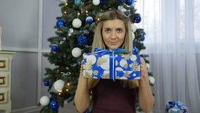 Muchacha hermosa con los regalos de la Navidad Imagen de archivo