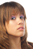 Muchacha hermosa con mirada seria en su cara Foto de archivo libre de regalías