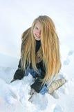 Muchacha hermosa con nieve Fotos de archivo
