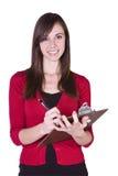 Muchacha hermosa con un sujetapapeles Foto de archivo libre de regalías