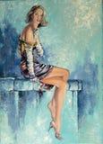 Muchacha hermosa con un vidrio y un cigarrillo Fotografía de archivo