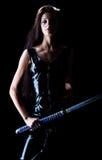 Muchacha hermosa con una espada Imágenes de archivo libres de regalías