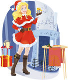 Muchacha hermosa de Santa con el regalo de Navidad Libre Illustration