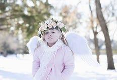 Muchacha hermosa del ángel afuera Fotografía de archivo