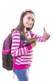 Muchacha hermosa del adolescente con la mochila y la tableta digital Fotos de archivo libres de regalías