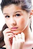 Muchacha hermosa del adolescente en blanco aislado Fotos de archivo libres de regalías