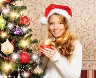 Muchacha hermosa del adolescente que adorna el árbol de navidad Imagenes de archivo