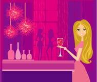 Muchacha hermosa del disco con la bebida stock de ilustración