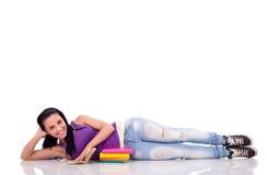 Muchacha hermosa del estudiante con el libro Fotografía de archivo