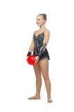 Muchacha hermosa del gimnasta con la bola roja Fotos de archivo libres de regalías