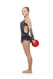 Muchacha hermosa del gimnasta con la bola roja Imagenes de archivo