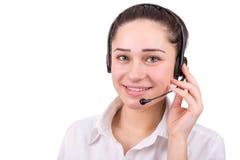Muchacha hermosa del negocio en centro de atención telefónica Foto de archivo