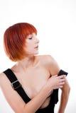 Muchacha hermosa del redhead en estudio Fotografía de archivo libre de regalías