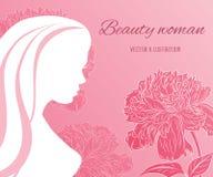 Muchacha hermosa del vector con las flores de las peonías Imágenes de archivo libres de regalías