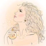 Muchacha hermosa dibujada mano de la moda Foto de archivo