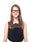 Muchacha hermosa elegante del adolescente en los vidrios aislados Imagen de archivo libre de regalías