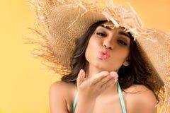 muchacha hermosa en beso que sopla del sombrero de paja, stock de ilustración