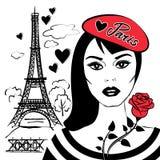Muchacha hermosa en boina con la torre de Francia-Eiffel del símbolo stock de ilustración