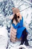 Muchacha hermosa en bosque del invierno fotos de archivo libres de regalías