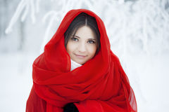 Muchacha hermosa en bosque del invierno en rojo Imagen de archivo