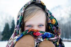 Muchacha hermosa en bufanda en fondo hivernal Fotos de archivo