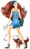 Muchacha hermosa en caminata con un perro. libre illustration