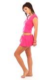 Muchacha hermosa en color de rosa caliente Fotografía de archivo libre de regalías