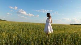 Muchacha hermosa en el baile blanco del vestido en campo de trigo contra un fondo del cielo azul metrajes