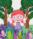 Muchacha hermosa en el bosque stock de ilustración
