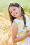 Muchacha hermosa en el campo de trigo Fotos de archivo