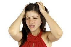 Muchacha hermosa en el dolor para el dolor de cabeza Fotos de archivo libres de regalías
