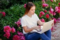 Muchacha hermosa en el ordenador portátil del parkwith Fotos de archivo libres de regalías