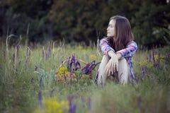 Muchacha hermosa en el prado Imágenes de archivo libres de regalías