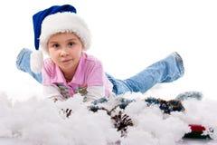 Muchacha hermosa en el sombrero de Santa Fotografía de archivo libre de regalías