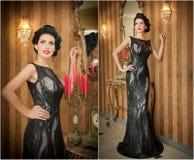 Muchacha hermosa en el vestido negro elegante que presenta en escena del vintage Mujer hermosa joven que lleva el vestido lujoso  Foto de archivo