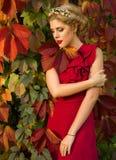 Muchacha hermosa en el vestido rojo que presenta en un fondo del pasto del otoño Imagenes de archivo