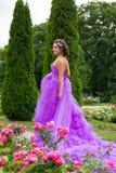 Muchacha hermosa en el vestido violeta entre en el jardín Fotos de archivo libres de regalías