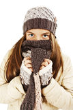 Muchacha hermosa en estilo del invierno Fotos de archivo libres de regalías