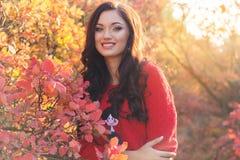 Muchacha hermosa en hojas de otoño coloridas Imagen de archivo