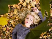 Muchacha hermosa en la caída del otoño Fotos de archivo libres de regalías