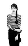 Muchacha hermosa en la camisa rayada Foto de archivo libre de regalías